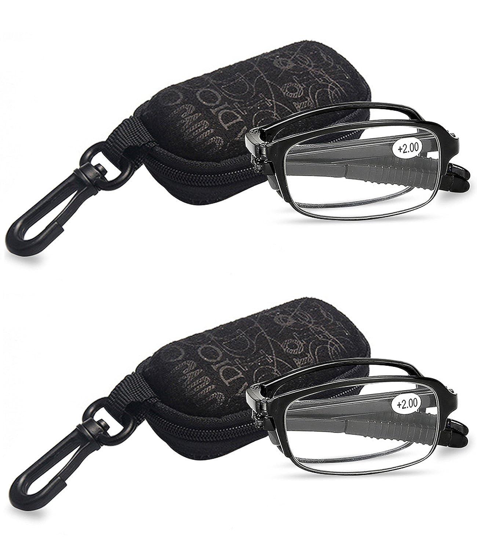 VEVESMUNDO Gafas de Lectura Plegables Hombre Mujer Compactas Presbicia Vista Leer con Mini Portatiles Bolsillo 1.0 1.5 2.0 2.5 3.0 3.5 4.0 Negro Marrón Rojo