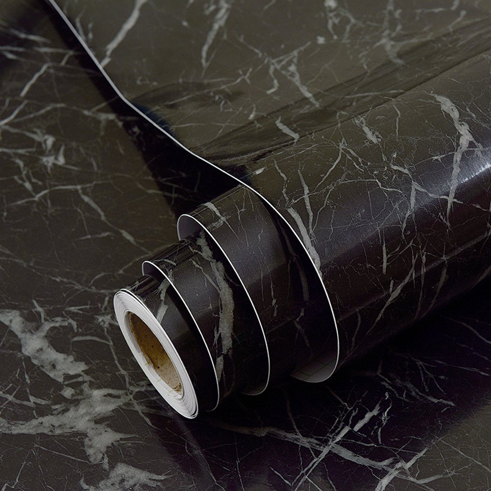 Faux Black Marble Contact Paper Adhesive Backing Vinyl Film Peel and Stick Marble Shelf Liner for Kitchen Countertop Cabinets Backsplash Crafts Projects (24 by 117 Inches) Glow4u GL001