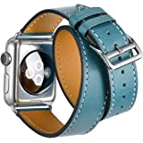 Valkit for Apple Watch Band - iWatch Bands 42mm Genuine Leather Strap iPhone Smart Watch Band Bracelet Replacement Wristband with Stainless Steel Adapter Clasp for Apple Watch 2 1, Double Tour - Blue