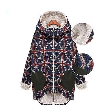 Wei forcarry Las mujeres de invierno y Cachemira con capucha abrigo mangas largas suelta chaqueta de