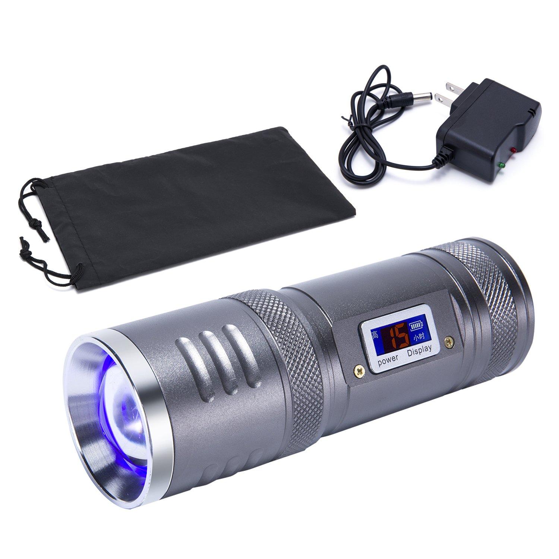 LED Searchlight Rechargeable Super Bright Outdoor Spotlight Flashlight Portable Handheld Multi-Purpose Camping Flashlight Long Shot Light Fishing Hiking Hunting Lighting (Grey)