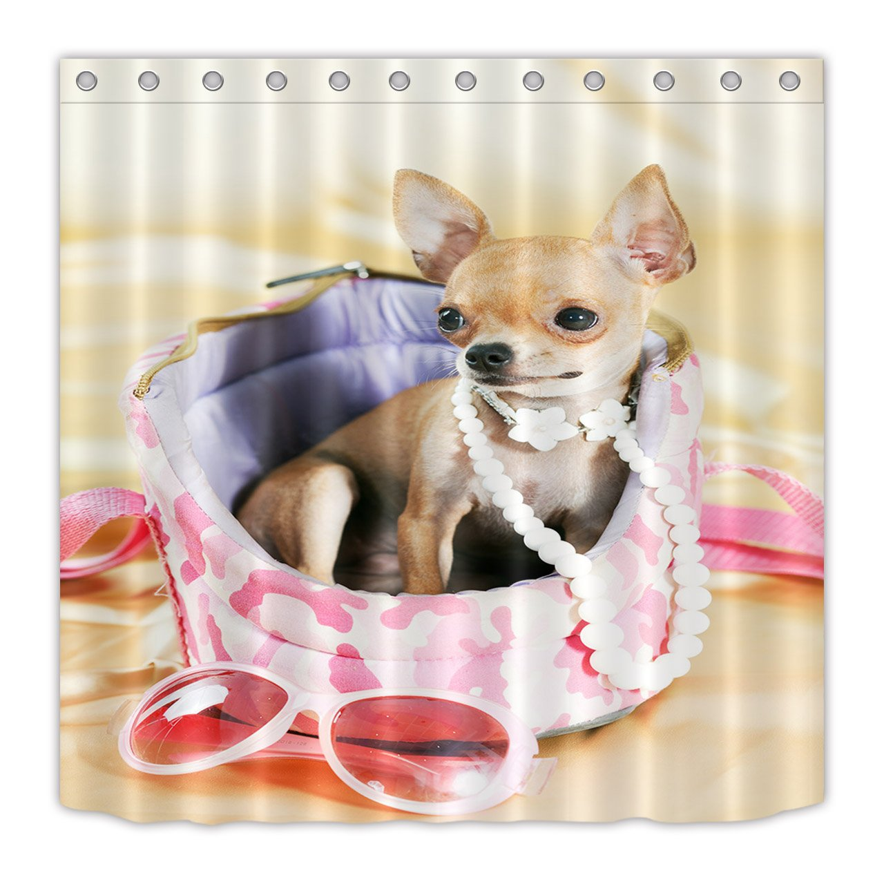 LB Chic Chihuahua Pearl Necklace Sunglasses Shower Curtains Set Pet Dog Animal Print Curtain For Bathroom 70x70 Waterproof Anti Mold