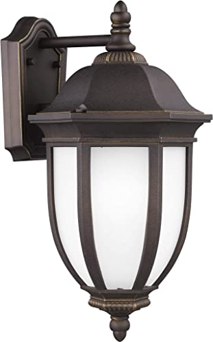 Sea Gull Lighting Sea Gull 8729301-71 Transitional One Light Outdoor Wall Lantern from Galvyn Collection Dark Finish, Large, Antique Bronze