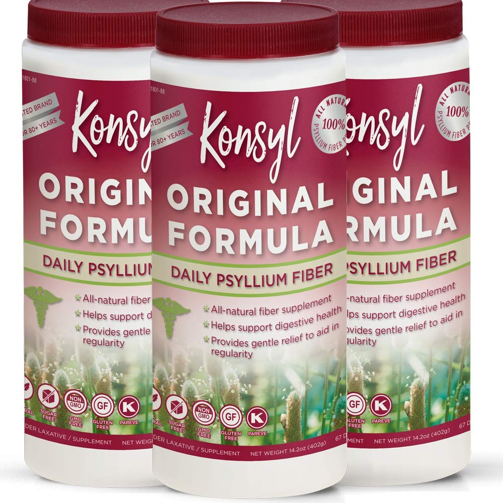 Konsyl - Original Formula - Psyllium Husk Daily Fiber Supplement Powder All-Natural, Soluble, Gluten Free and Sugar Free | 3 Pack 402g by Konsyl