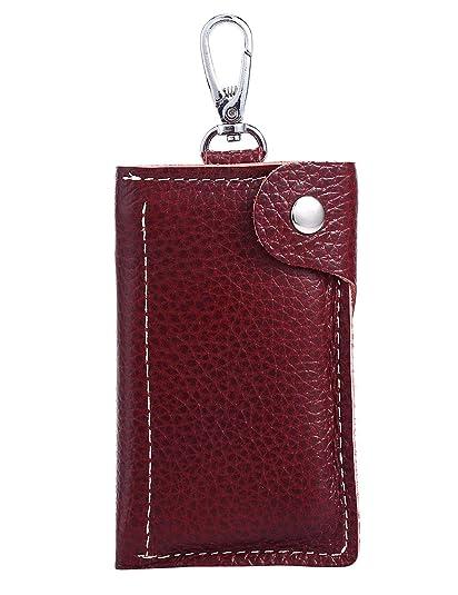 Amazon.com  Genuine Leather Key Case Car Key Holder 6 Hook Key ... 7527511da040