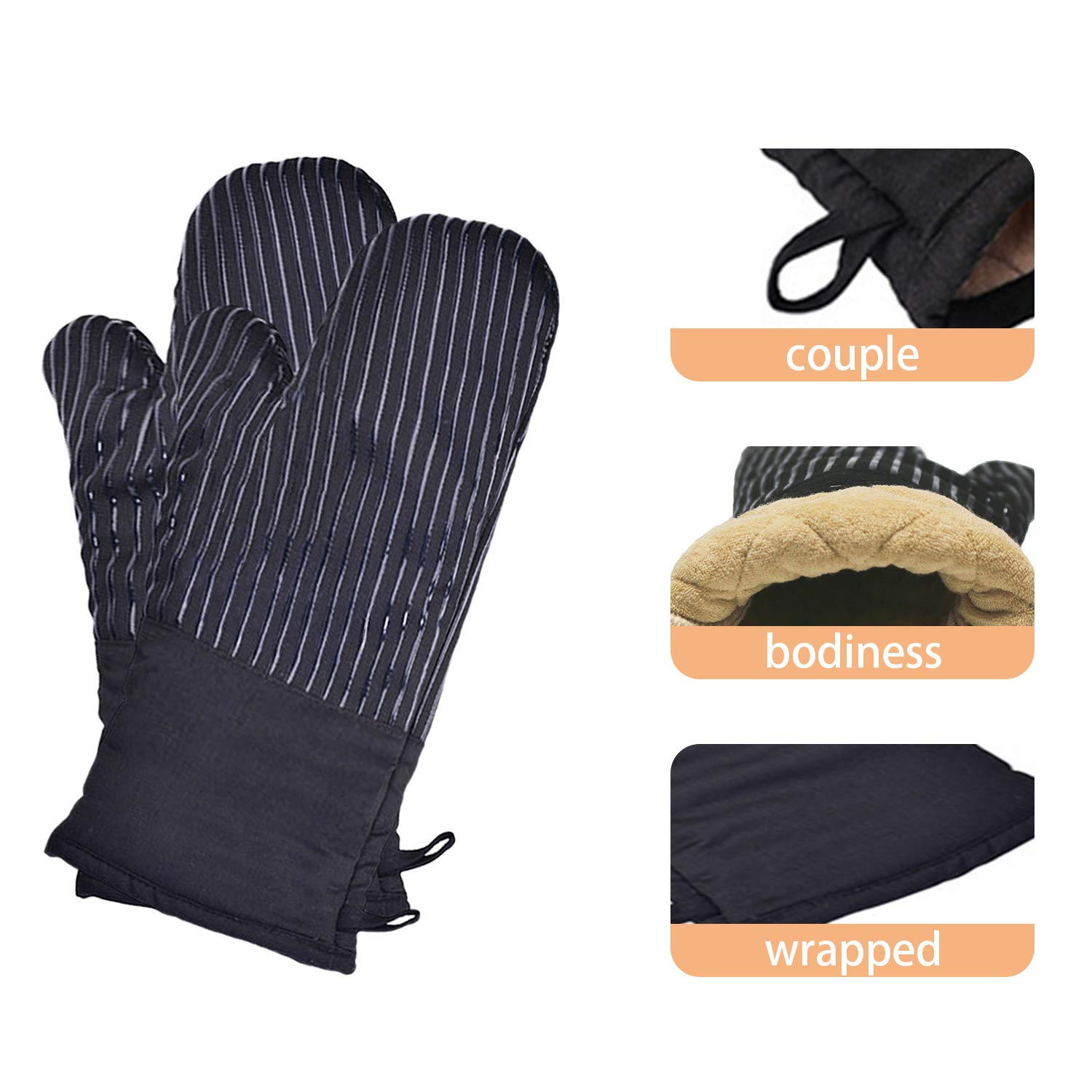 """Cotton Oven Mitts with Silicone, Extra Long Professional Oven Mitts, 13"""" x 7"""" Non-Slip Kitchen Oven Gloves, Water and Heat Resistant Oven Mitt Gloves with Hanging Loop, 1 Pair (Black)"""