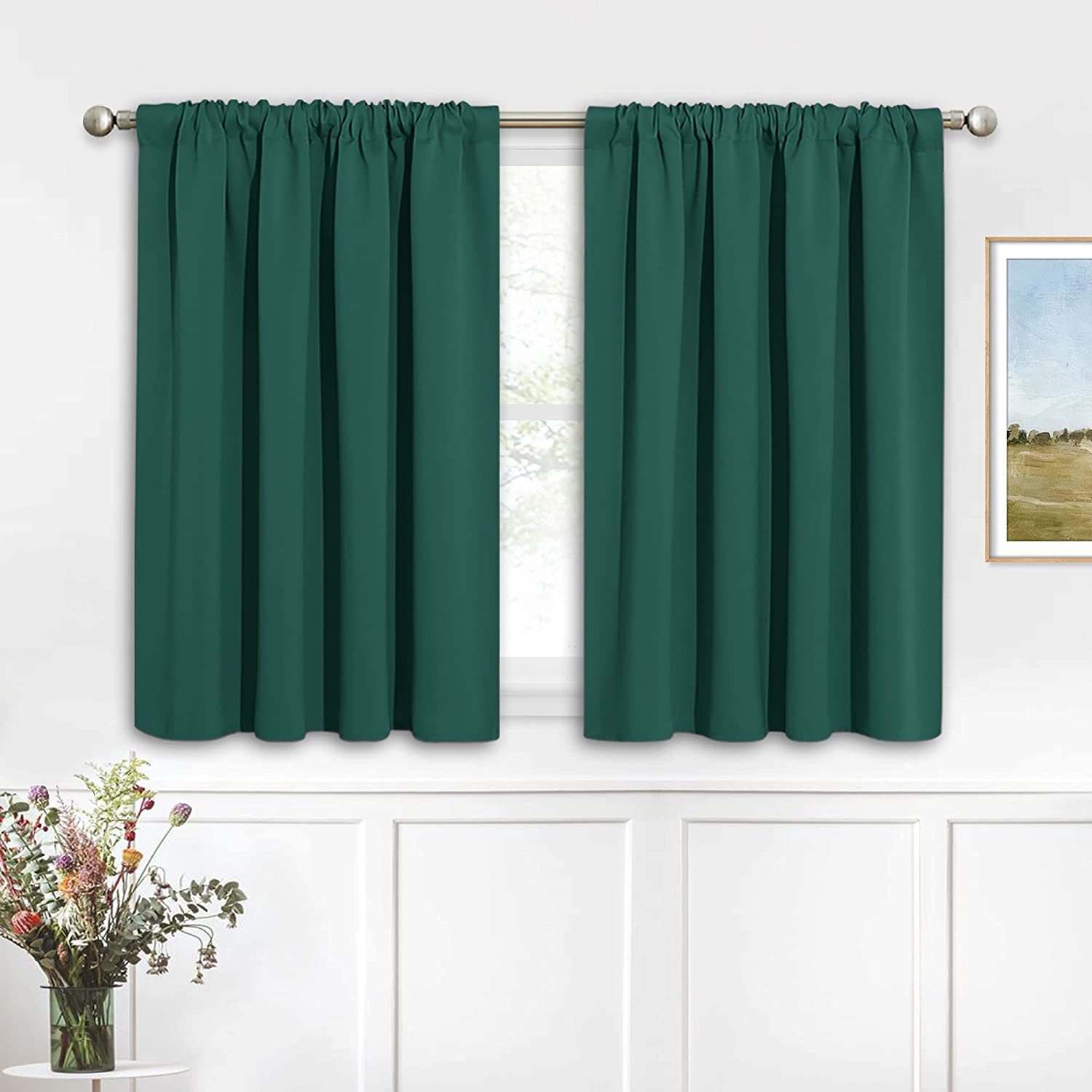 RYB HOME Blackout Curtains for Bathroom - Solid Light Block Blinds Privacy Light Block Drapes for Kitchen Cabinet Kids Nursery Bedroom Laundry Cafe Window Decor, W 42 x L 36, Hunter Green, 1 Pair