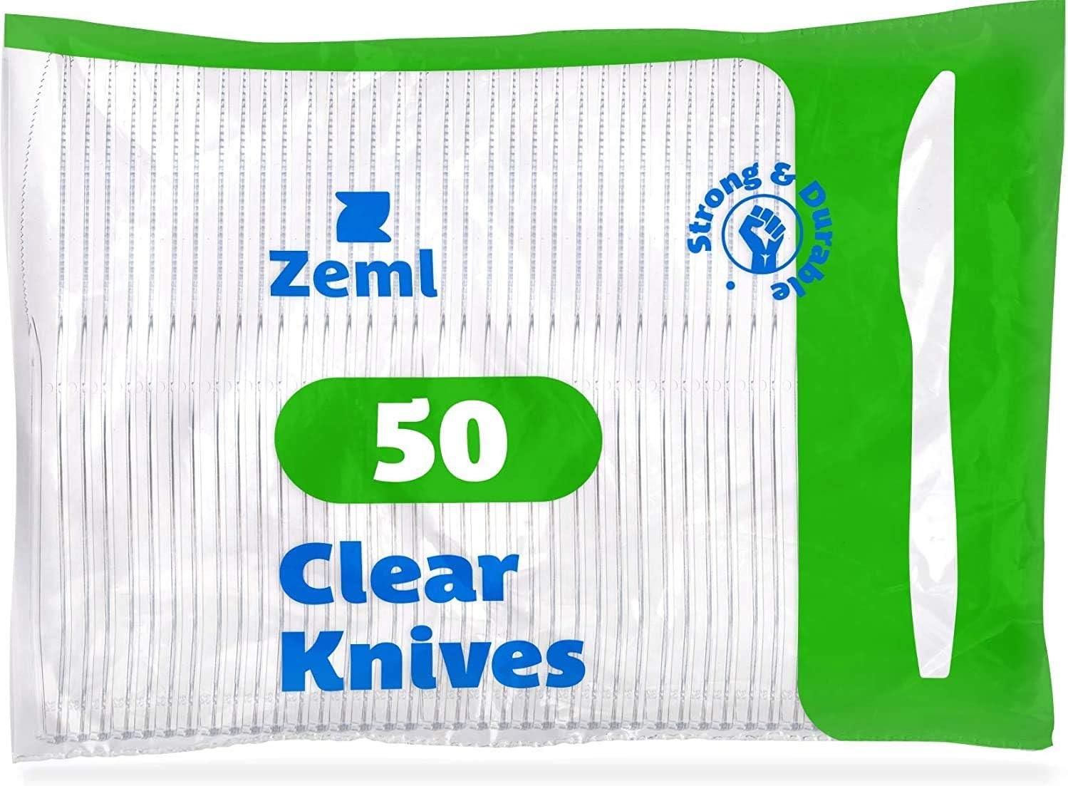 mittelschwer transparent ZEML Einwegmesser aus Kunststoff 50 St/ück