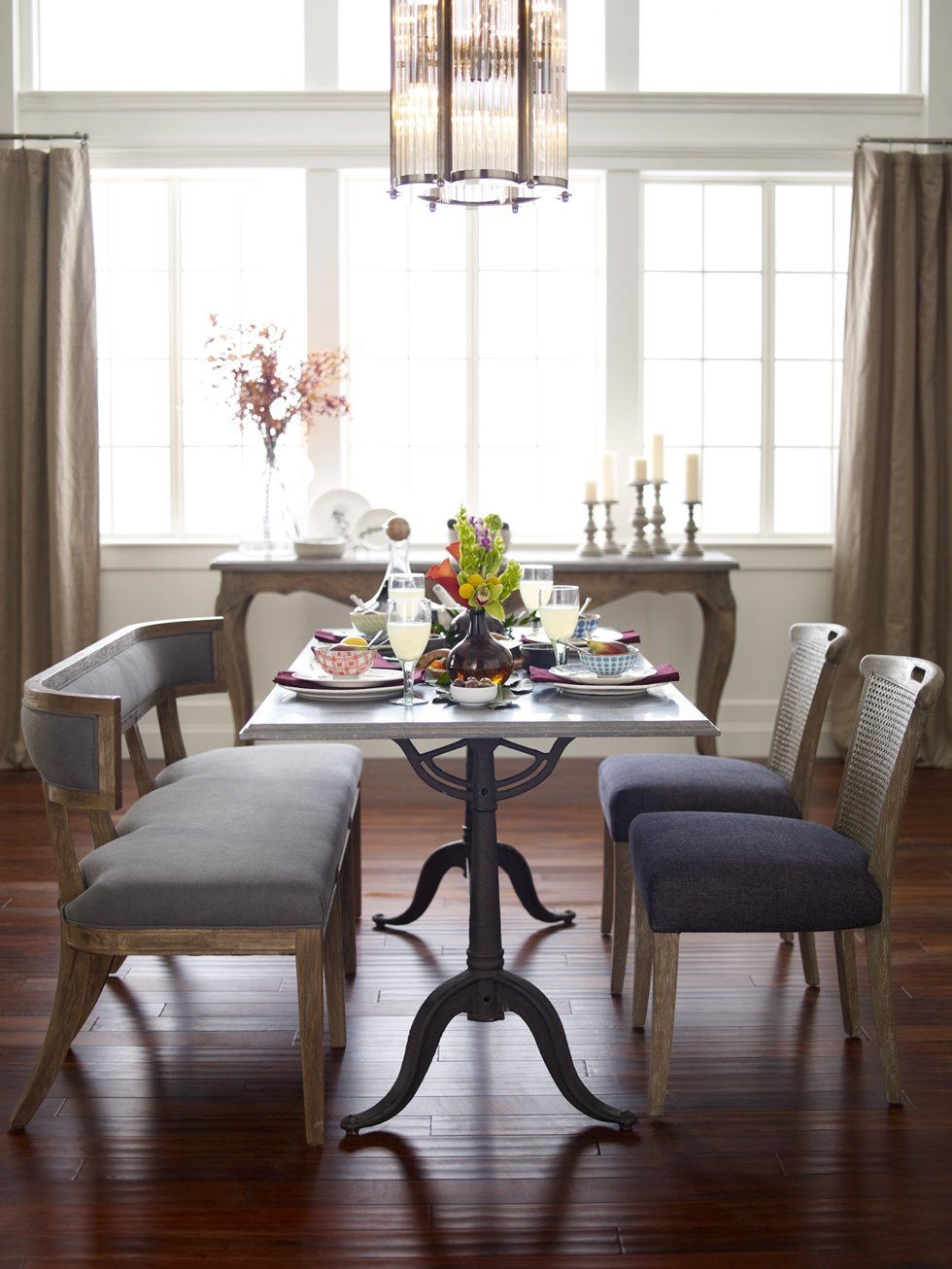 Amazon.com: Livingston Modern Classic Curved Back Grey Dining Bench:  Kitchen U0026 Dining