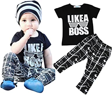 Kids Children Baby Boys Letter Printed Blouse Tops T-Shirt Clothes Outfit Gifts