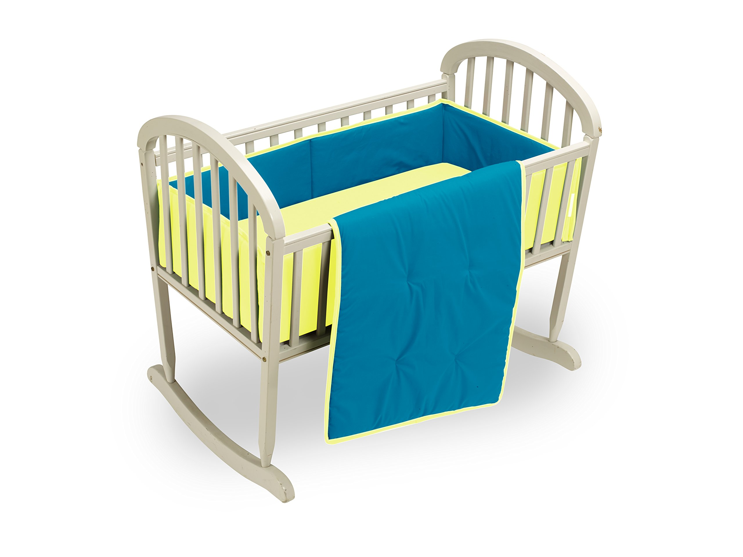 Baby Doll Bedding Reversible Cradle Bedding, Aqua/Yellow