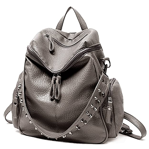 Amazon.com  UTO Women Backpack Purse 3 ways PU Washed Leather Rivet Studded  Ladies Rucksack Shoulder Bag B Khaki  Shoes fbdf2b30f5e2c