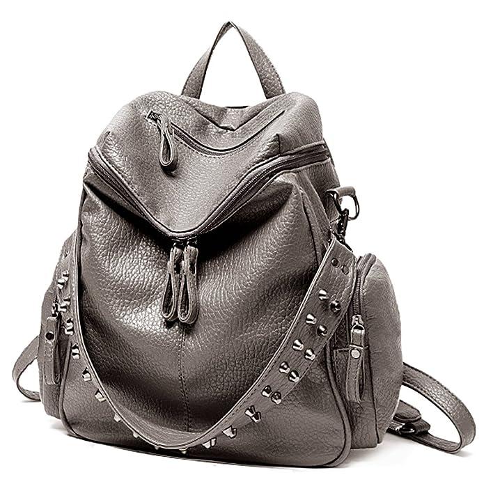 53973ae624fb Amazon.com  UTO Women Backpack Purse 3 ways PU Washed Leather Rivet Studded  Ladies Rucksack Shoulder Bag B Khaki  Shoes