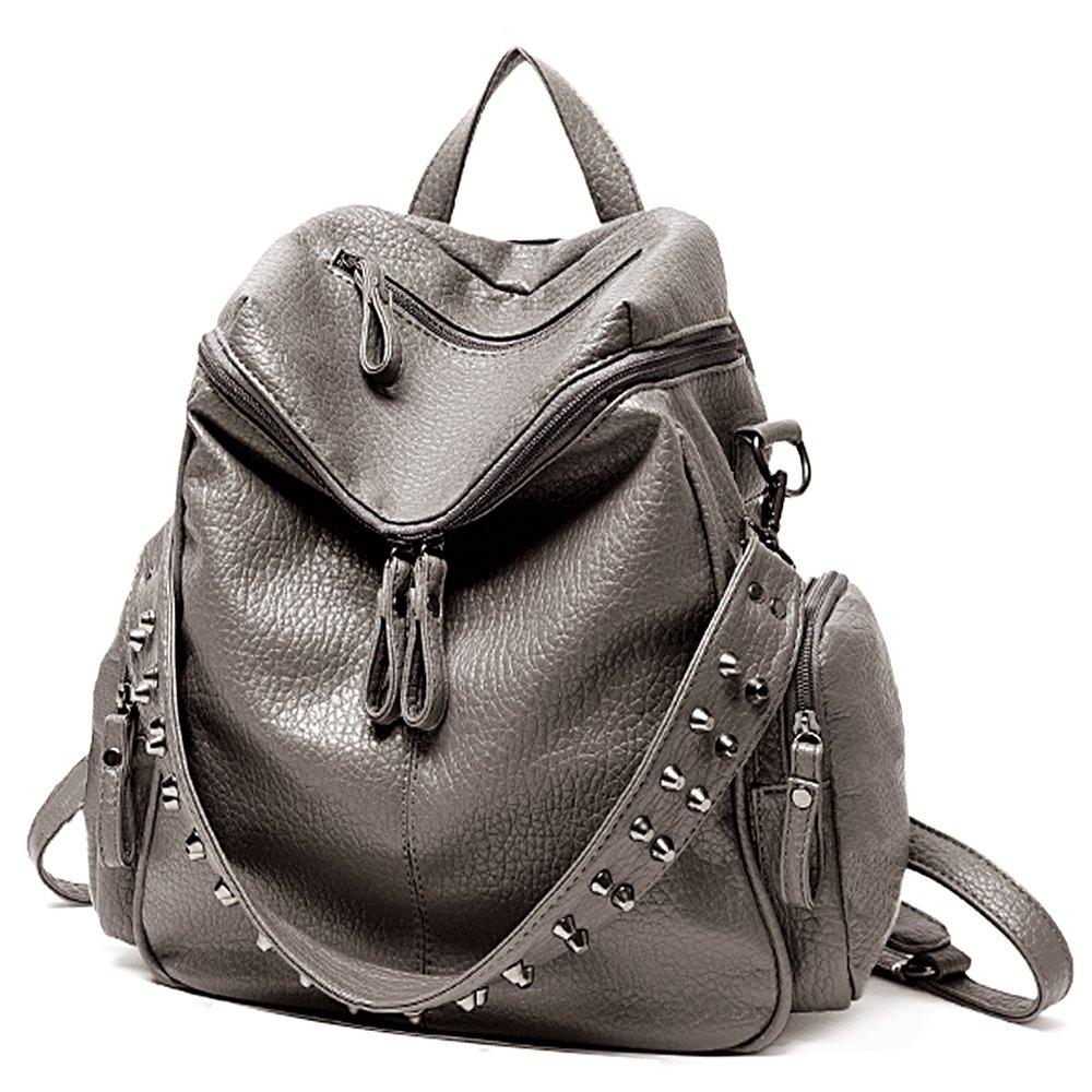 UTO Women Backpack Purse 3 ways PU Washed Leather Rivet Studded Ladies Rucksack Shoulder Bag B Khaki