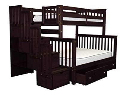 Incroyable Bedz King Stairway Bunk Beds Twin Over Full With 4 Drawers In The Steps And  2