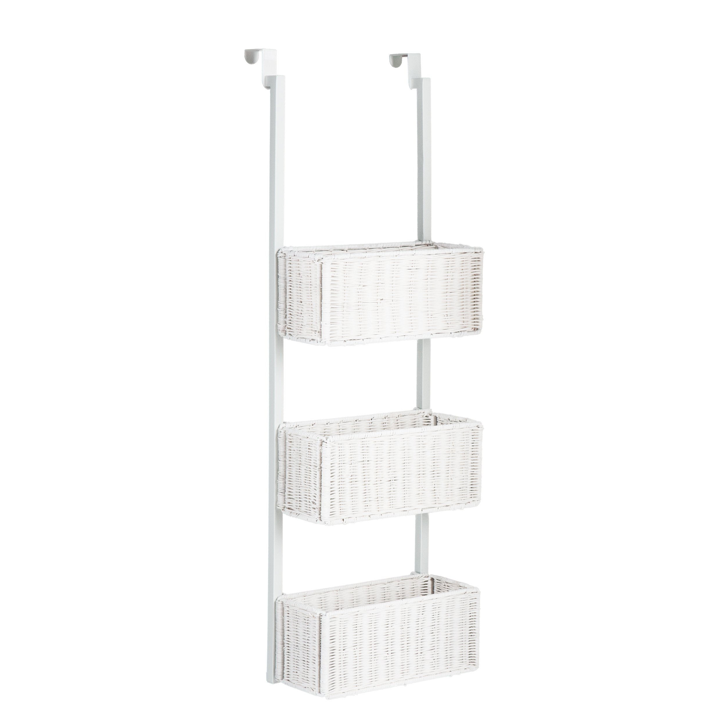 Southern Enterprise Over-The-Door 3-Tier Woven Basket Storage, White Finish