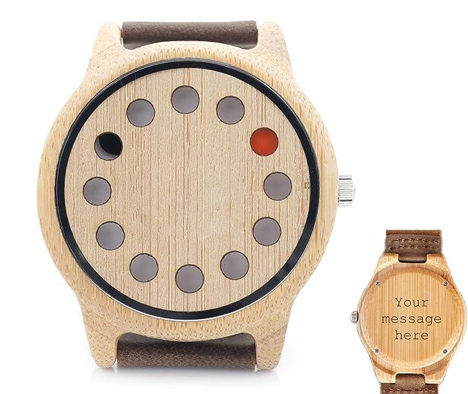 Custom personalizado grabado reloj de madera de bambú de madera con madera de correa de piel de vaca marrón Casual analógico de cuarzo relojes: Amazon.es: ...