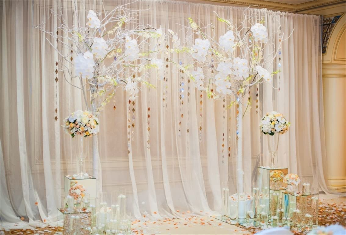 Zhy Polyester Fabric Wedding Ceremony Backdrop 7x5ft Wedding Photography Background Bride Groom Portraits Wedding Site Photos Engagement Party Bridal Shower Party Wedding Video Photos Props
