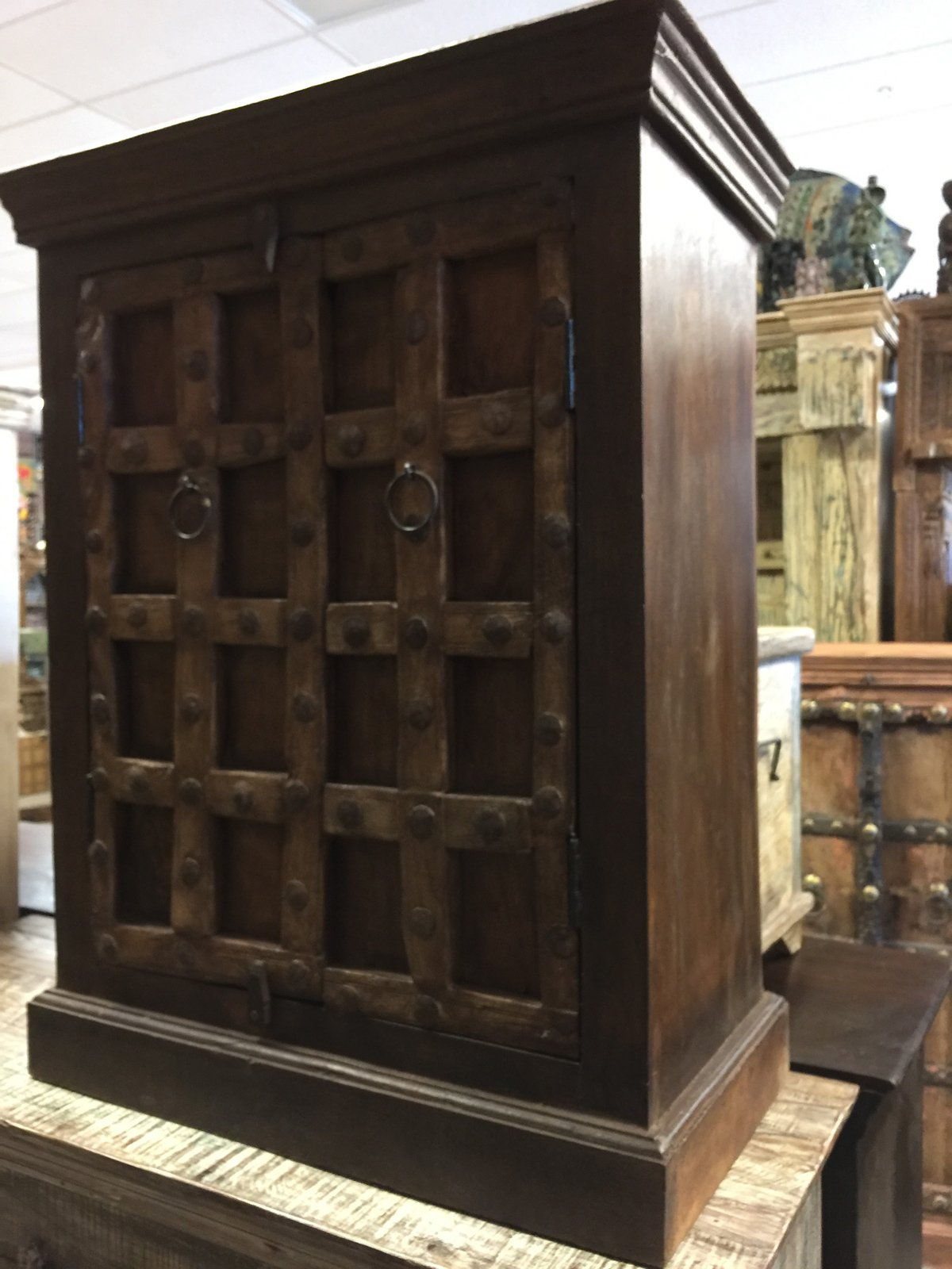 Mogul Interior Rustic Side Cabinet End Table Antique Chest Furniture Old Doors Console