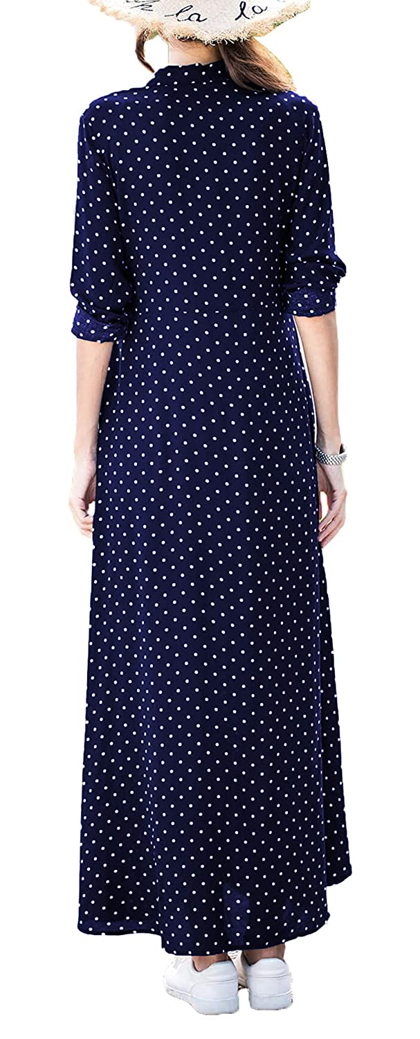 a45ba45124d Asvivid Womens Casual Polka Dot Roll Up Sleeve Button Down V Neck Flowy  Split A Line Maxi Dress Plus Size 1X Blue at Amazon Women s Clothing store