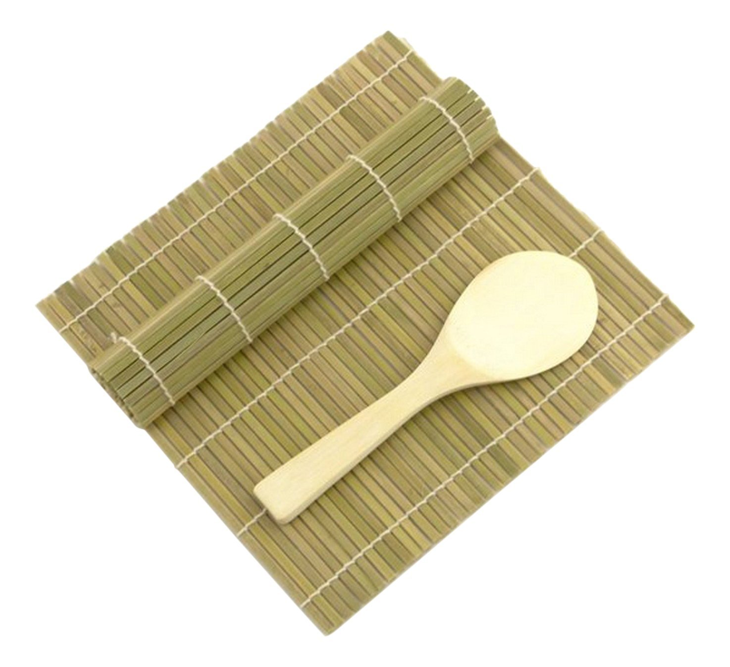 JapanBargain Green/Green Bamboo Sushi Rolling Kit Mat With Rice Paddle Set 3676-A