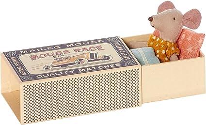 Maileg - Hermana Pequeña Ratón Caja De Cerillas en amarillo Vestido De Lunares - En Caja Con Cama: Amazon.es: Juguetes y juegos