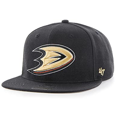 wholesale dealer 04bd9 39029  47 MLB Anaheim Ducks Sure Shot Two Tone Captain Adjustable Snapback Hat ( Black, One Size) at Amazon Men s Clothing store
