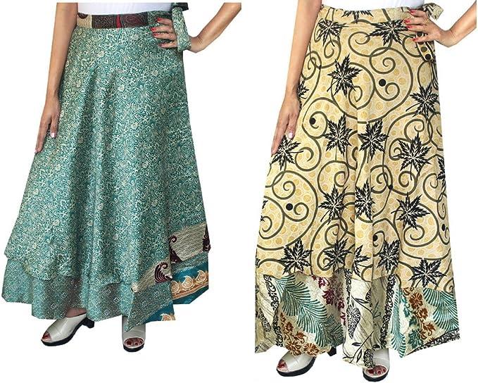 5 Pcs Lot Indian Vintage Silk Wrap Skirt Printed Women Vintage Dress 36 Inch Long Wrap Skirt Indian Silk Saree Bohemian Magic Women Dress
