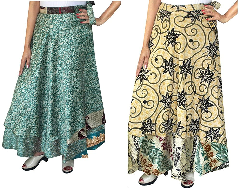 Maple Clothing Wholesale 2 Pcs Lot Two Layers Women's Indian Sari Magic Wrap Around Long Skirt mpl-magicskt36-2p