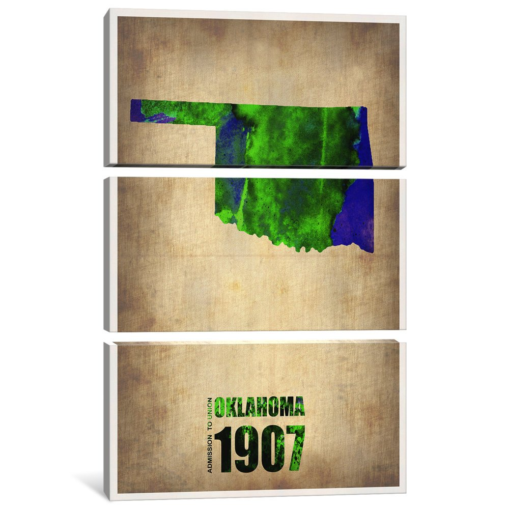iCanvasART 3 Piece Oklahoma Water Color Map Canvas Print by Naxart 60 x 40//0.75 Deep
