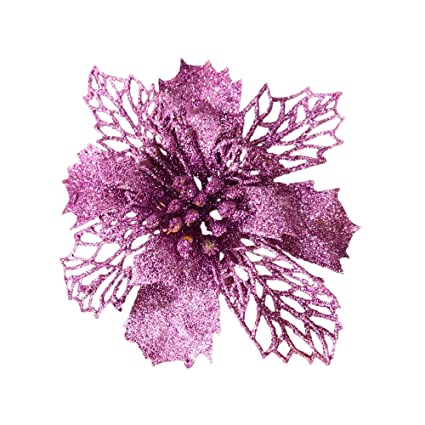 Artificial Christmas Flowers.Purple New Glitter Artificial Wedding Christmas Flowers Glitter Poinsettia Christmas Tree Ornaments Pack Of 12 Purple