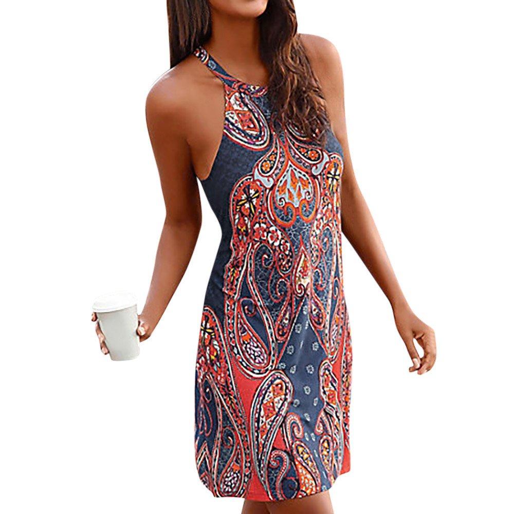 VECDY Damen Kleiden Frauen Neckholder Boho Print ärmellose lässige Mini Beachwear Kleid Sommerkleid Sling Kleid Kurzer Rock Mode Oberteil Bluse Pullover