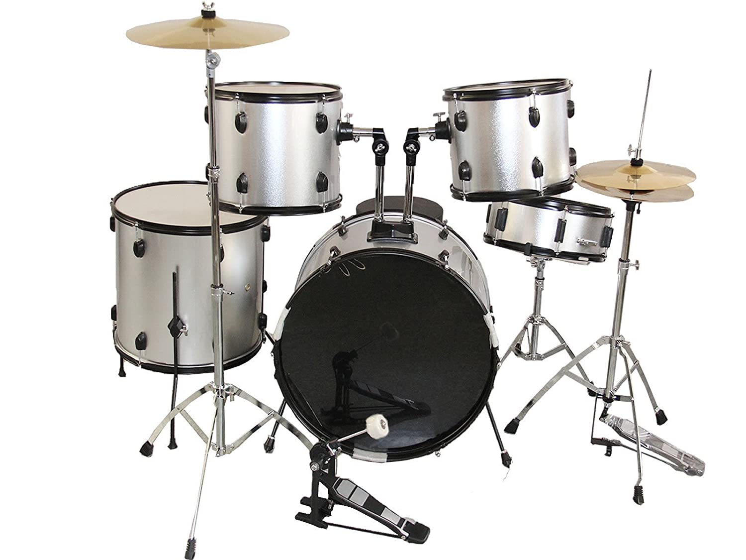 Amazon Com Goplus New Silver Complete 5 Piece Adult Drum Set