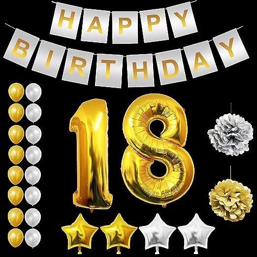 18 Cumpleaños Globos Decoración - 18 Dorados Globo, Happy Birthday Pancarta, Globos de Estrella, Dorados y Plata Globos de Latex, Pom Poms Apto para ...