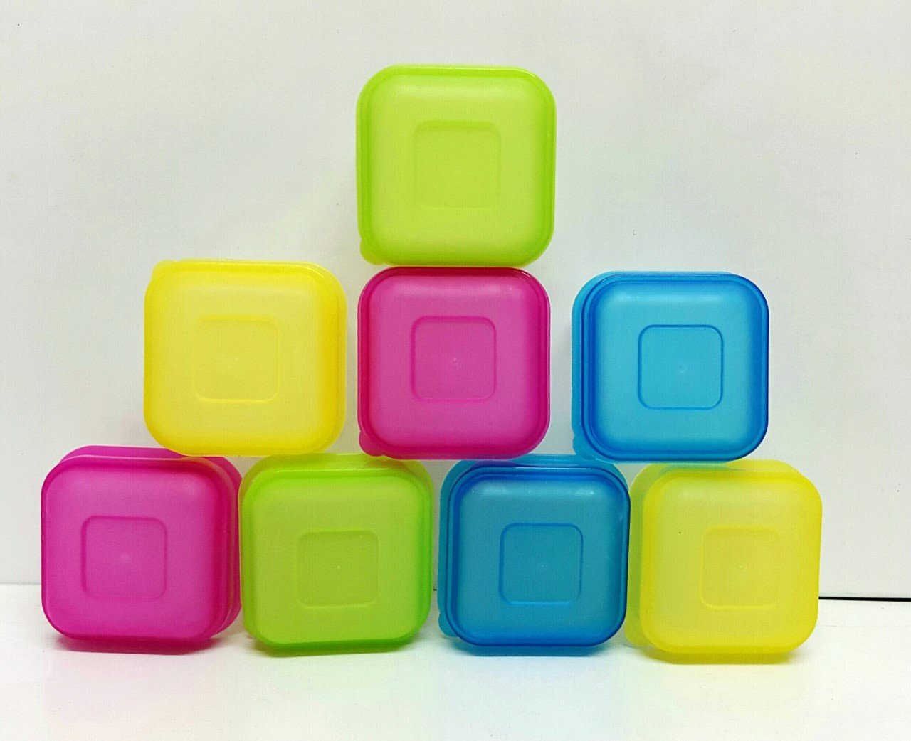 Ik-Onkar Plastic 8pcs Mini Storage Boxes Baby Weaning Feeding Freezer Food Pots Container homecare