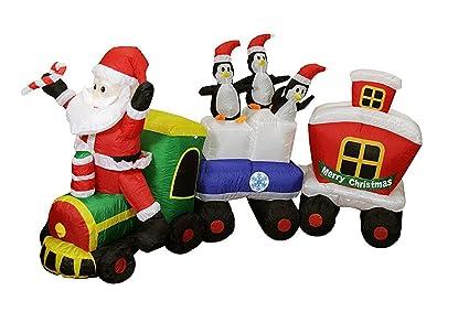 lb international 82 inflatable lighted santa express train christmas yard art decoration