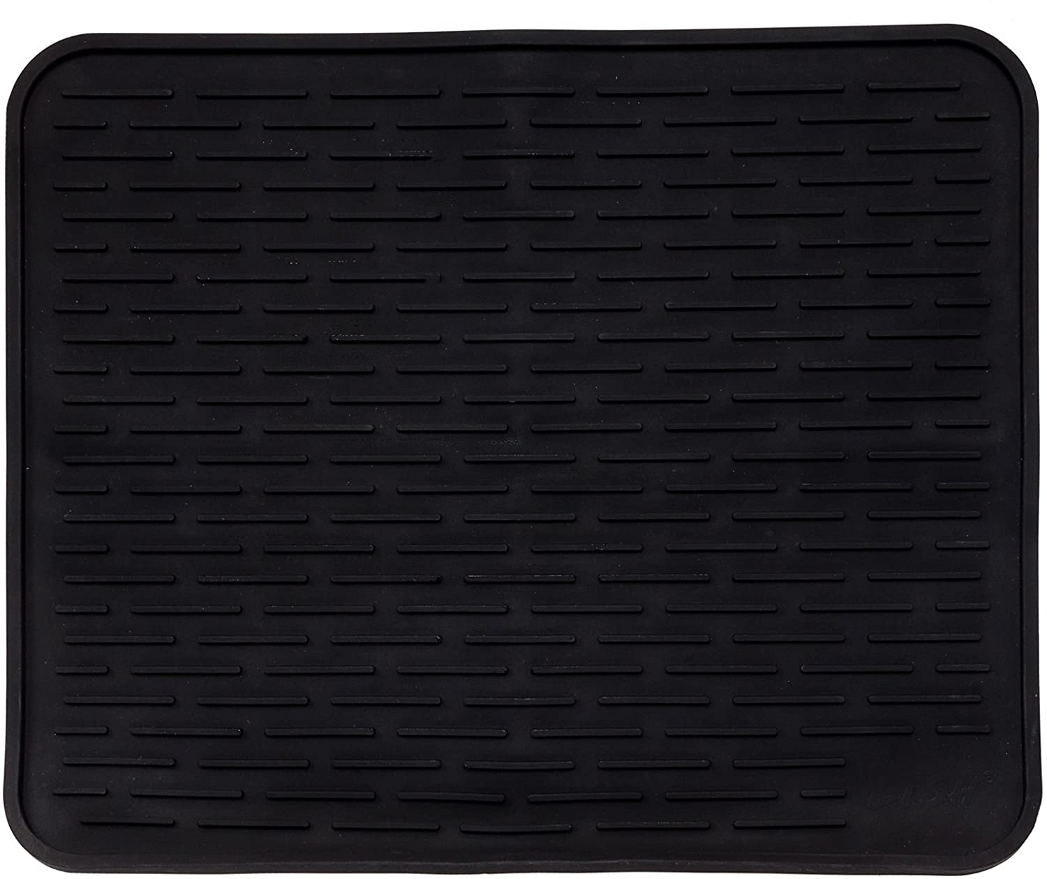 "XXL Super Size Silicone Dish Drying Mat 24"" x 18"" - Large Drainer Mat and Trivet by LISH (Black)"