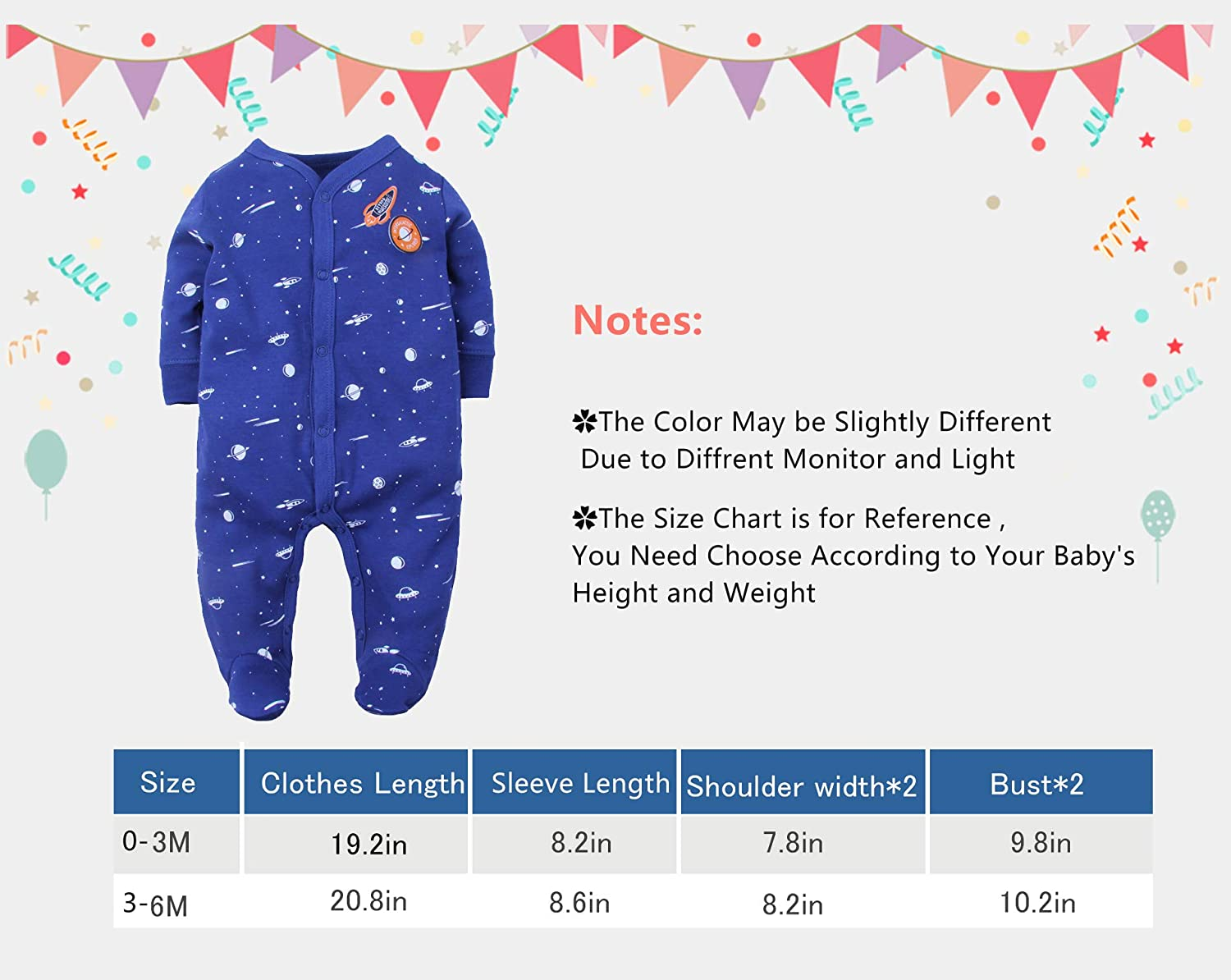 Infant Baby Cotton Footies Romper Long Sleeve Flower Print Pajamas Infant Footed Pajamas