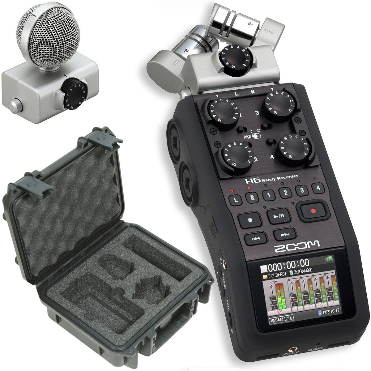 Zoom H6 Portable Stereo Recorder & SKB 3i-0907-4-H6 Waterproof Hard Case - Bundle