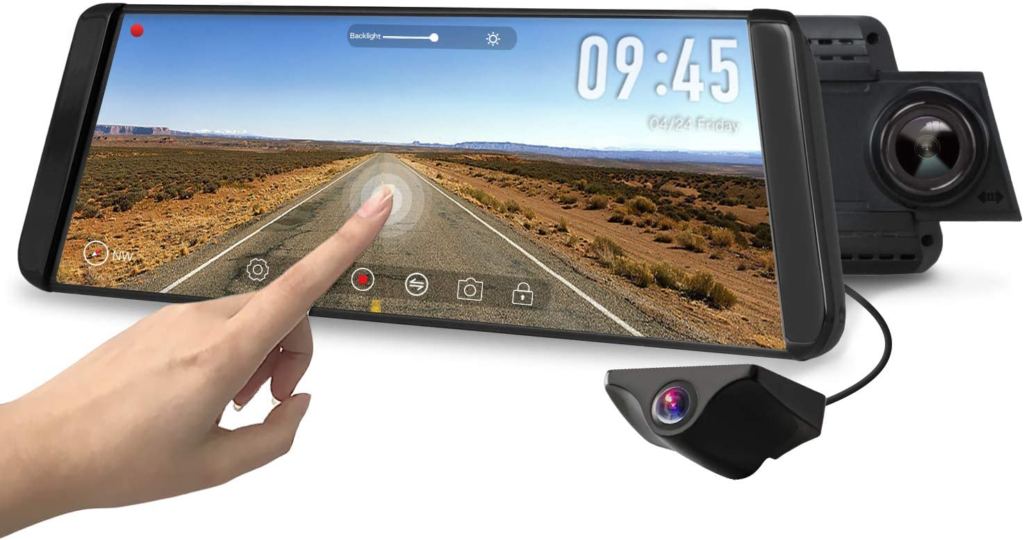 AUTO-VOX X2 Mirror Dash Cam with Waterproof Backup Camera and GPS Tracking}