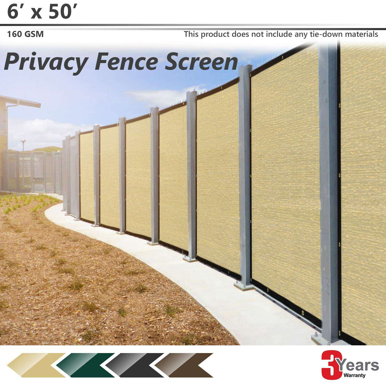 BOUYA Beige Privacy Fence Screen 6 x 50 Heavy Duty for Chain-Link Fence Privacy Screen Commercial Outdoor Shade Windscreen Mesh Fabric with Brass Gromment 160 GSM 88 Blockage UV -3 Years Warranty
