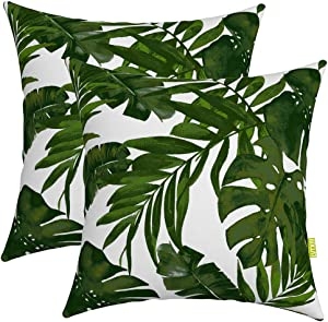 """LVTXIII Outdoor Accent Patio Toss Pillow Covers, Tropical Throw Pillow Case Sham, Square Cushion Covers for Indoor Outdoor Use 2 Pack, 17"""" x17"""" – Palm Green"""