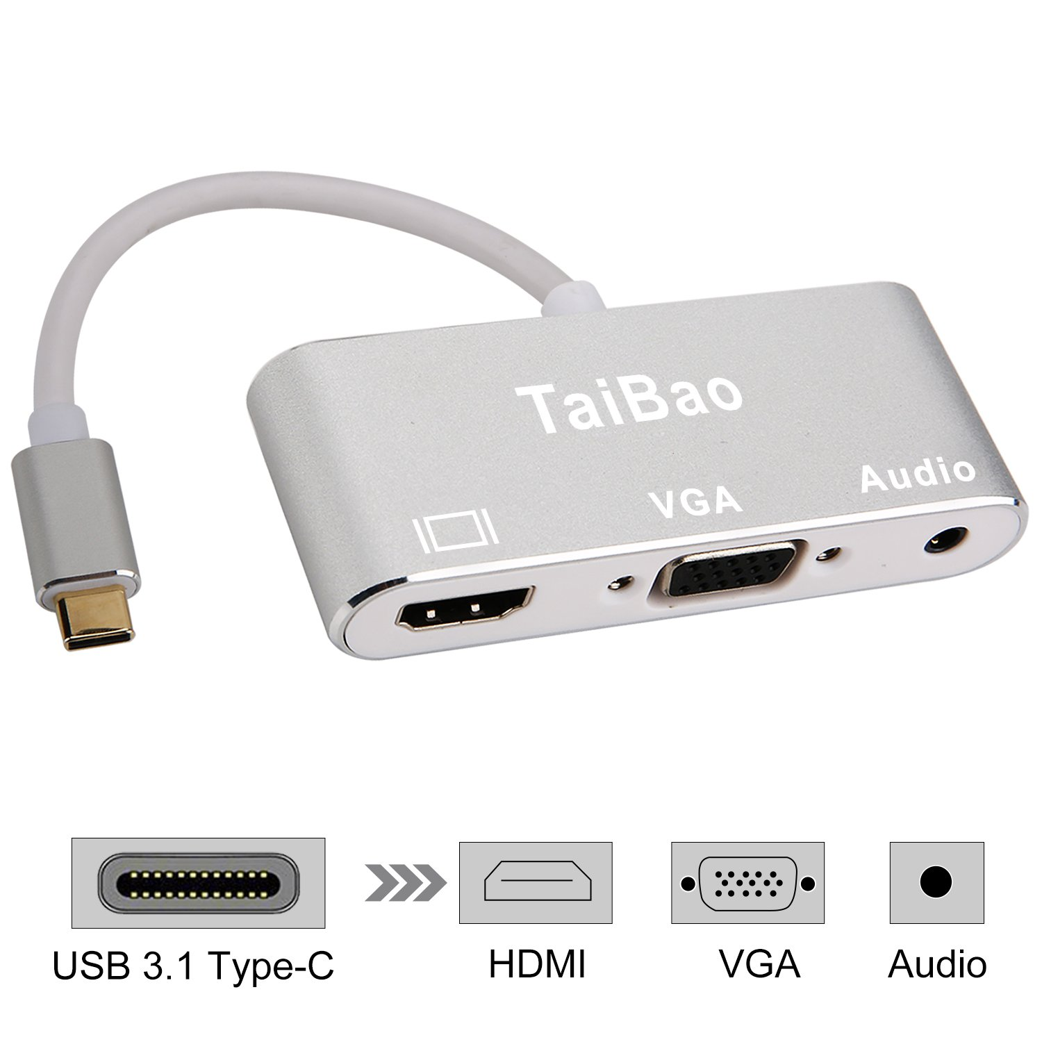 USB C to HDMI VGA Audio Adapter, TaiBao USB 3.1 Type C to HDMI 4K VGA 1080P Dual Screen Display Converter for MacBook Pro 2017 / Samsung Galaxy S8 / S8 Plus / S9 / Note 8