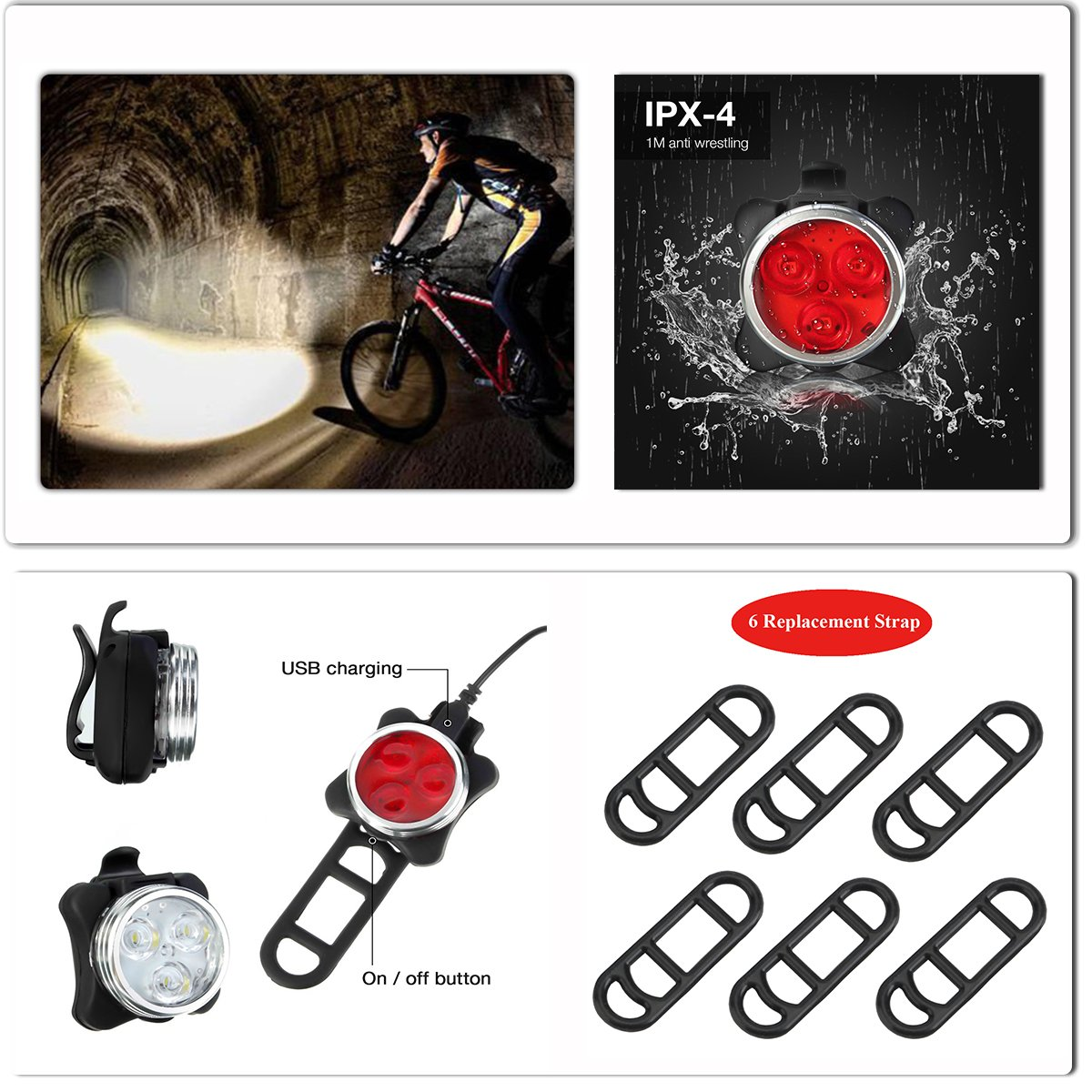 SOKLIT USB Rechargeable Bike Light Front and Rear Waterproof IPX4 Super Bright Bicycle LED Light Set 120 Lumen with 650mah Lithium Battery, 4 Light Mode Options, Including 6 Strap and 2 USB Cables by SOKLIT (Image #7)
