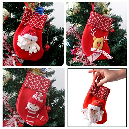 christmas stockings decorationsdidadi 6 pcs 3d santa snowman reinbeer personalized mini christmas - Small Christmas Stocking Decorations