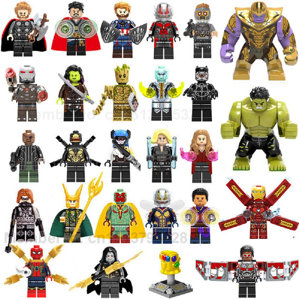 EvelynSemple Set of 27pcs Superhero Mini Building Block Action Figures - Mini Super Heroes Figures with Accessories - Super Heroes Set Building Blocks - Building Blocks Brick DIY Toys Children