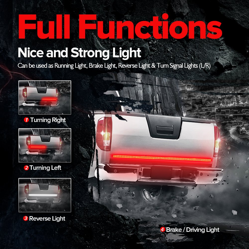 Mictuning 60 Inch 2 Row Led Truck Tailgate Light Bar Brake Lamp Wiring Diagram 4 Strip Red White Reverse Stop Turn Signal Running For Suv Rv Trailer Automotive