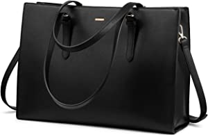 Laptop Bag for Women Professional Computer Bag Structured Leather Laptop Purse Large Laptop Tote Bag, 15.6-Inch, Black