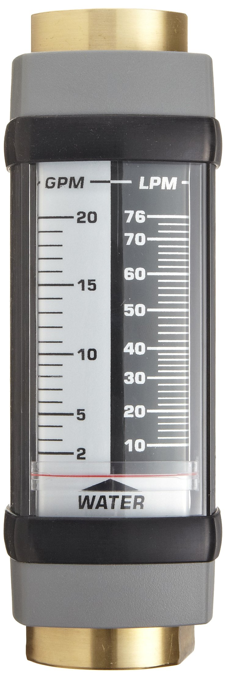 Hedland H605B-010 Flowmeter, Brass, For Use With Water, 1 - 10 gpm Flow Range, 1/2'' NPT Female
