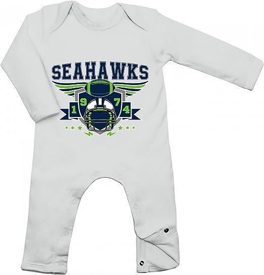 Shirt Happenz Seahawks Babybody 1974 Super Bowl American Football Langarm Lang/ärmliger Strampler